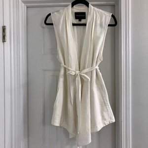 Cream Who What Wear belted linen vest